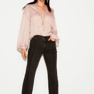 NEW NWD NWT PINK EXPRESS WOMEN STRIPED LACE-UP BLO